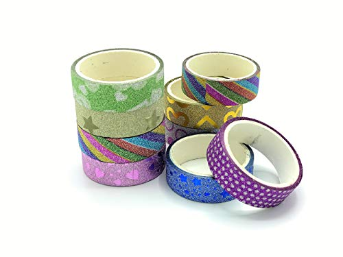 AVOLIVING Glitter Washi Tape Set Scrapbooking Washi Tape Decorative DIY Tapes for Arts and Crafts all Girls Favorite School Supplies Box of 50 Rolls