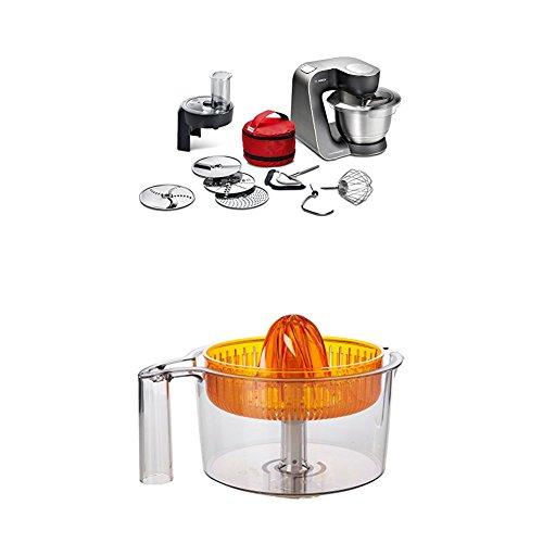 Bosch MUM59N26DE Küchenmaschine HomeProfessional, Rührschüssel, 3D Rührsystem, 7 Schaltstufen, 1000 W, mystic schwarz / edelstahl gebürstet +  MUZ5ZP1 Zitruspresse transparent mit orangem Presskegel