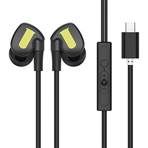 FafSgwq P9 Typ C / 3,5-mm-Stecker Tragbarer Subwoofer In-Ear-Kopfhörer Mit Kabel Und Mikrofon Geräuschreduzierendes Mikrofon Für Laufen, Joggen Und Fitness Grün 3,5 mm