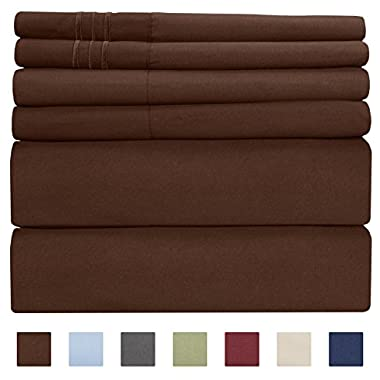 King Size Sheet Set - 6 Piece Set - Hotel Luxury Bed Sheets - Extra Soft - Deep Pockets - Easy Fit - Breathable & Cooling Sheets - Wrinkle Free - Brown Bed Sheets - Chocolate Kings Sheets - 6 PC