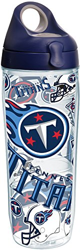 Tervis NFL Tennessee Titans All Over Tumbler with Wrap and Navy with Gray Lid 24oz Water Bottle, Clear