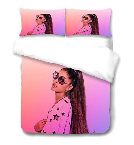SMNVCKJ Ariana Grande Duvet Cover Bulletproof Boy Scouts Bedding Set with Pillowcase 100% Microfiber 3D Printing for Teens Adult (3,Single 135×200CM)