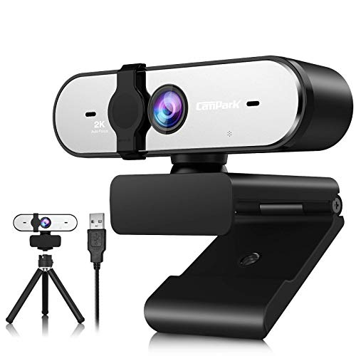2K Webcam mit Mikrofon, Campark QHD-Streaming-Computerkamera mit Autofokus, Plug & Play, Schutzhülle und Stativ, Webcams für Zoom/Skype/Facetime/Online-Unterricht/Konferenz