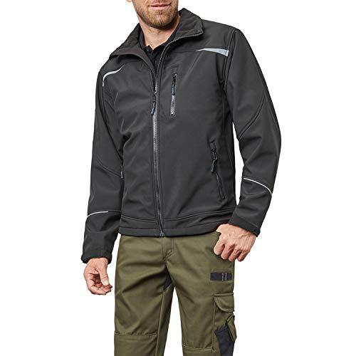 Pionier ® workwear Herren Softshell Arbeitsjacke | atmungsaktive Jacke | verstellbare Ärmel | reflektiert bei Nacht | Outdoor Tätigkeit | schwarz S