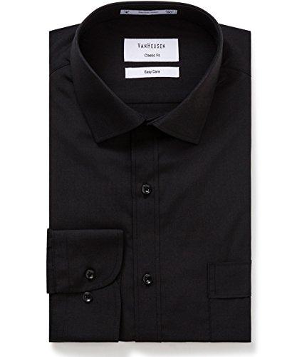 VAN HEUSEN mens Classic Relaxed Fit Shirt Vertical Stripe Black 44cm Collar x 86cm Sleeve