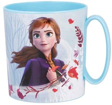Taza Frozen 350 ml Vaso de plástico para microondas con asa niños desayuno Disney Frozen
