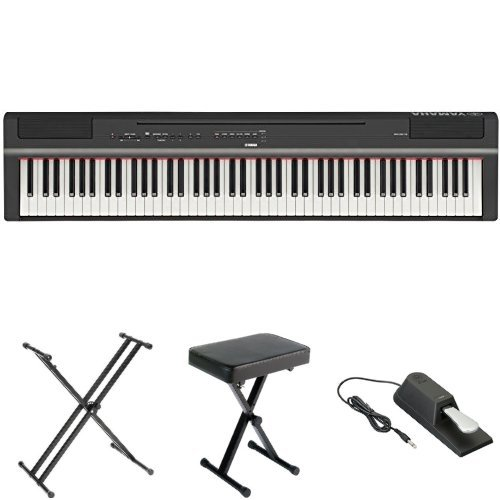 Yamaha P125 Digital Piano Bundle with X Stand, Bench and Sustain Pedal, Black