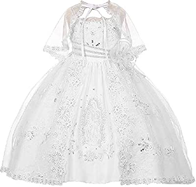 BluNight Collection Spaghetti Strap Virgin Mary Embroidered Little Girl Baptism Dresses (4T0R9K) White 0