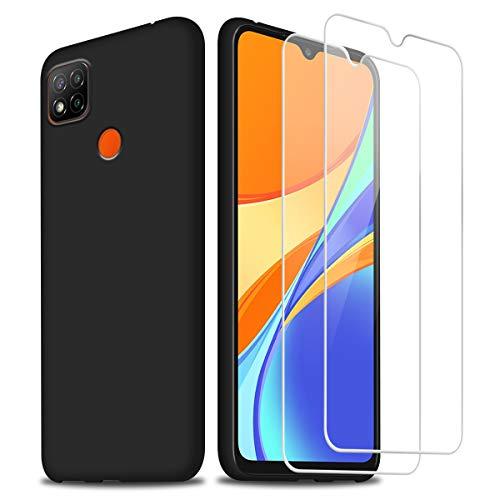 Hülle kompatibel mit Xiaomi Redmi 9C / 9C NFC, Schwarz Weich Flüssigkeit Silikon Handyhülle Schutzhülle mit Zwei Gehärtetes Glas Schutzfolie Bildschirmschutzfolie für Xiaomi Redmi 9C / 9C NFC 6.53