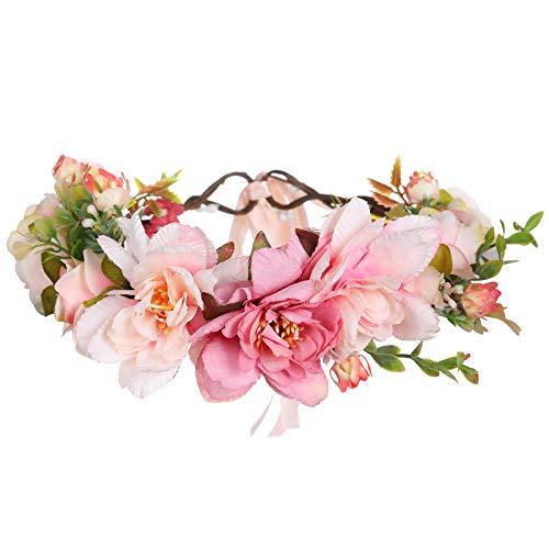 AWAYTR Damen Mädchen Blumen Stirnband Blumenkranz - Blühen Blumenkrone Girlande Kopfschmuck Festival Hochzeit Party Einstellbar mit Band (hellrosa + rose)