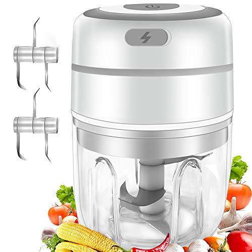 Gintan Picadora de Alimentos,250ML Picador de Ajo Eléctrica Procesador de Alimentos con 3 Cuchillas Afiladas,Triturador de Alimentos Picadora Eléctrica para Cocina y Alimentos para Bebés