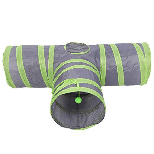 DOACT Pet Cat Polyester Faltbare T-Form DREI Glieder Tunnelröhre Spieltrainingsspielzeug mit Plüschball Interaktives Trainingsspielzeug