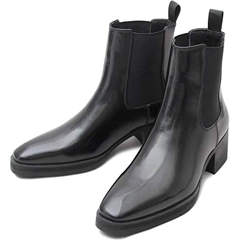glabella グラベラ チェルシーブーツ ヒールアップブーツ メンズブーツ サイドゴア glbb-176-S-BK-B サイズ:S(25.0cm-25.5cm) ブラック-B ※返品不可