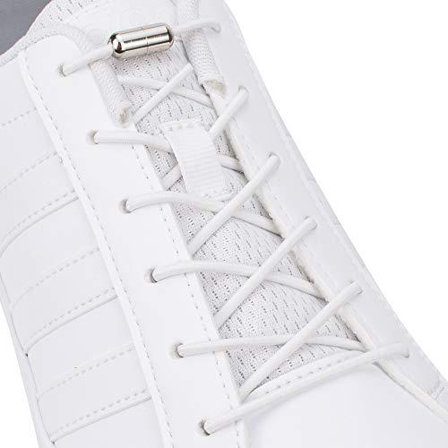 SULPO Elastische Schnürsenkel mit Metallverschluss – Ohne Binden – Silikonschnürsenkel S009 (Weiß)