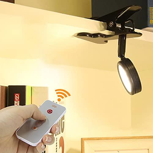 QEGY Lámpara Lectura con Pinza y Mando a Distancia, Alimentación USB Lámpara Lectura con Pinza 3 Modos y 10 Niveles de Brillo, Lámpara de Mesa con Pinza y 2,5m Cable Lámpara para Libro,Negro