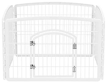 IRIS USA 4-Panel Pet Playpen with Door Size 35.25 L x 35.25 W x 24 H CI-604 White