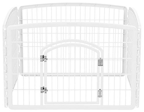 "IRIS USA 4-Panel Pet Playpen with Door, Size 35.25""L x 35.25""W x 24""H CI-604, White"