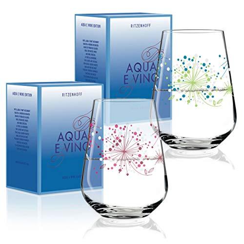RITZENHOFF Aqua e Vino Design Wasser- und Weinglas, 2er Set, Weinkelch, Weinbecher, Weinschorle Trink Glas, Veronique Jacquart, Herbst 2018, Kristallglas, 0.5 L
