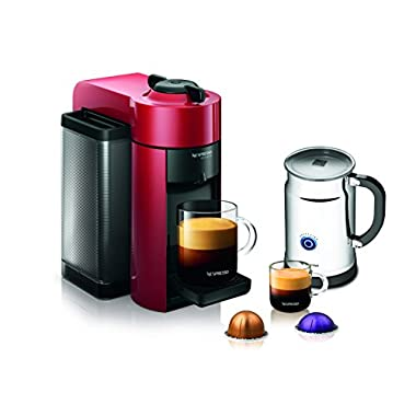 Nespresso A+GCC1-US-RE-NE VertuoLine Evoluo Coffee & Espresso Maker with Aeroccino Plus Milk Frother, Red (Discontinued Model)