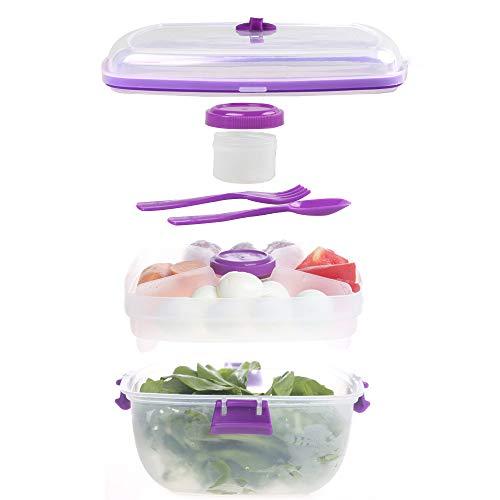 Shopwithgreen To Go Salatbehälter,Salat-Bento-Box |3 Fächer für Salat und Snacks,Salatschüssel mit 1 Gabel und 1 Löffel,1200 ml Lunchbox,to go Salat Container, Mikrowellengeeignet (Violett)