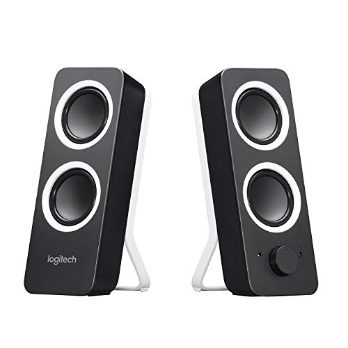 Logitech Z200 PC Speakers, Stereo Sound, 10 Watts Peak Power, 2 x 3.5mm Inputs, Headphone Jack, Adjustable Bass, Volume Controls, UK Plug, PC/TV/Smartphone/Tablet - Midnight Black