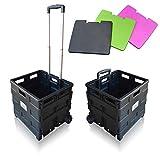SUN LEISURE Heavy Duty Folding Trolley Box Cart, Extra Large Size, Folds Flat, Capacity 40kg (Black Trolley with LID)
