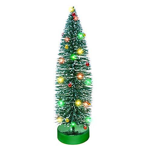 KPCB 35cm Weihnachtsbaum künstlicher Mini Weihnachtsdeko Glitter Tischplatte Baum (Grün, L)