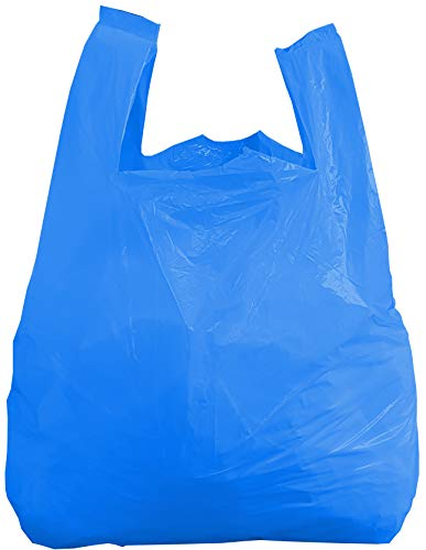 """Blue Plastic Carrier Bags Large Heavy Duty Vest Carrier Bags - Eco Friendly Recycled Strong Blue Plastic Bags (100, 11"""" x 17"""" x 21"""")"""
