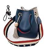 DEERWORD Damen Henkeltaschen Damenhandtaschen Handtaschen Schultertaschen Shopper PU-Leder Blau