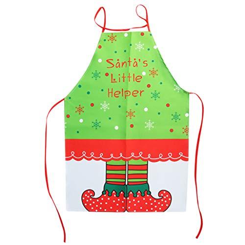 YSFWL Unisex Schürze WeihnachtsschüRze Weihnachtsartikel Druck Kittelschürze Santa Elf KüChenschürze Weihnachtsschmuck Kochschürze Weibliche Dekorative Weihnachten Liefert Kinderschürze
