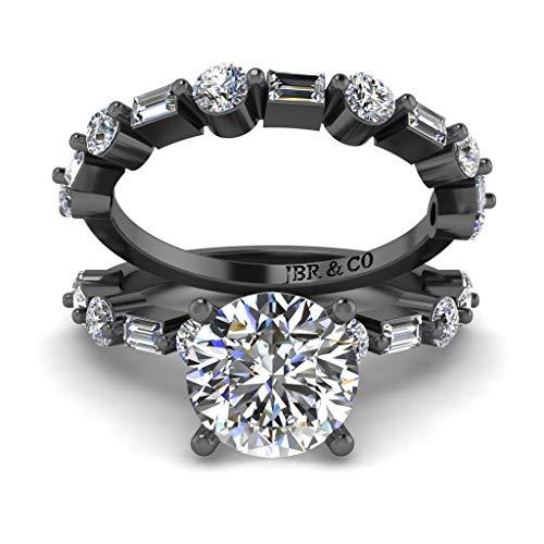 Jbr - Juego de anillos de plata de ley de corte redondo solitario, anillo de compromiso de corte redondo