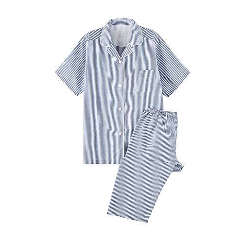 WANLN Damen Pyjama Set Cotton Striped Short Sleeve Nachtwäsche Soft-Nachtwäsche,B,L
