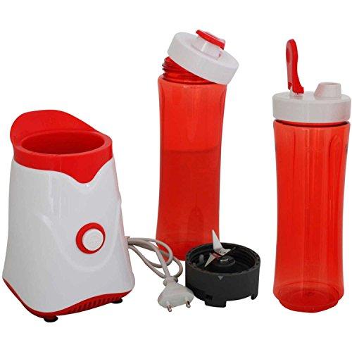 AFK Smoothiemaker Shake & Take Mini Smoothie Mixer 250 Watt mit zwei Bechern Ice Crusher Gehäuse Rot/Weiß