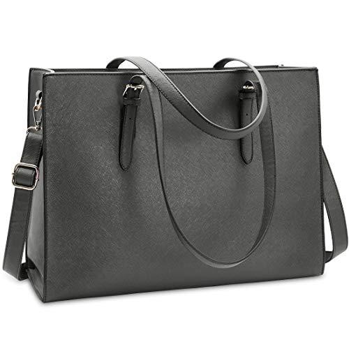NUBILY Handtasche Shopper Damen Große Schwarz Handtasche Leder Umhängetasche Arbeitstasche Gross Laptop Business Schule Taschen 15.6 Zoll Grau