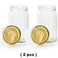 myferments barattoli di vetro con coperchio - contenitori grandi 2 litri per sottaceti, conserve, fermentare kombucha, kimchi, kefir - vasi antiodore per alimenti con chiusura ermetica - set da 2
