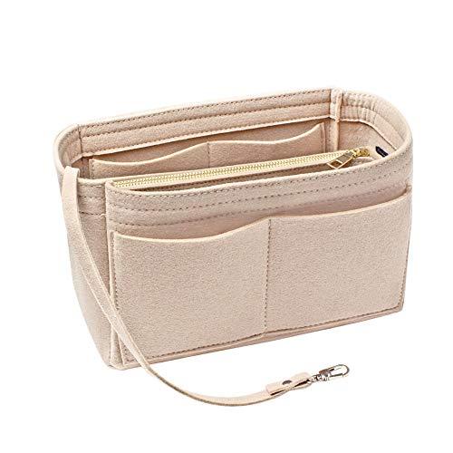 15 poches Organisateur de sac à main en feutre, ANSUG Pochette pour sac de maquillage en feutre pour femmes avec sac à fermeture à glissière amovible et poignées de porte-clés - 9,8 × 5,5 × 5,9\