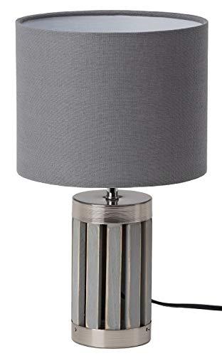 BRUBAKER tafel- of bedlampje - 33 cm hoogte - voet van hout / metaal grijs - textiel scherm grijs