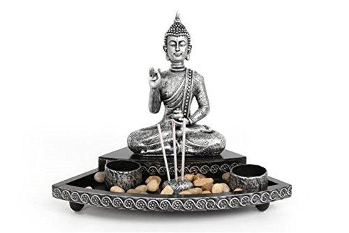 Coffret cadeau Statue de Bouddha dans un jardin, porte bougie et brûleur d'encens