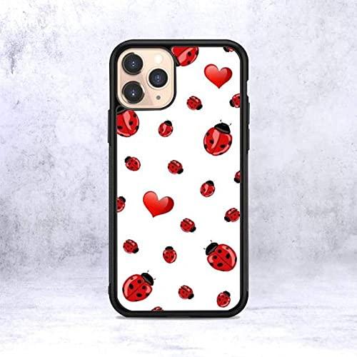 Funda para teléfono Ladybug para iPhone 12 Mini 11 Pro XS MAX X XR 6 7 8 Plus SE20 Suave TPU Silicona Transparente patrón, A2, para iPhone 11PRO MAX