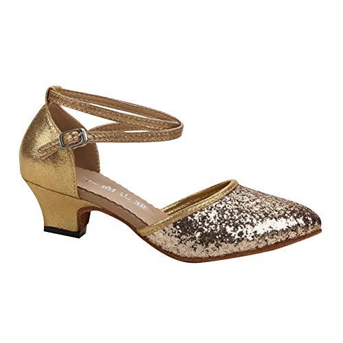 Daytwork Estándar Latinos Salsa Baile Zapatos Mujer - Mujeres Brillos Hebilla Zapatos Latinos Salón Tango Danza Calzado Sandalias Performance Bailarina Informal Práctica Aire Libre Deportes