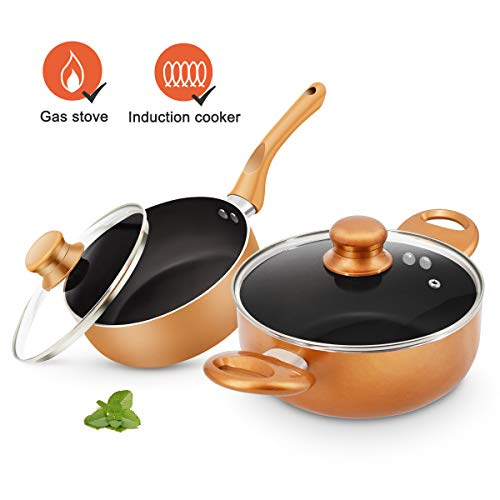 KUTIME 4pcs Cookware Set Non-stick Pot and Pan Set Ceramic Coating Soup Pot, Copper Milk Pot with Lid, Gas Induction Compatible, 1 Year After sale service