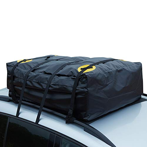 Alfa Gear Waterproof No Blow Off Car Roof Bag Cargo bag Car Roof Top Carrier Soft-Shell Carriers with Extra Tie down Straps,Anti-slip mats,Safety lock,Cargo Net 15 Cu.ft for cars with or without racks