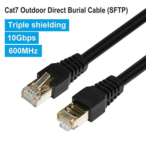 Phizli Cat7 Ethernet Cable 100ft, Outdoor Shielded Grounded UV Resistant Waterproof Buried-able Network Cord 10 Gigabit 600MHz (SFTP) with OFC Cat 5e/5/6 RJ45 LAN for Router, Modem, Gaming, Xbox, POE