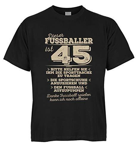 Conjunto de camiseta de algodón orgánico con miniatura, diseño de futbolista con texto en alemán Negro M