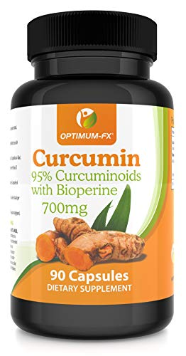 Curcumin Capsules 95 Premium Turmeric with Bioperine (Black Pepper Extract) for Maximum Absorption – 700mg per Capsule High Strength Supplement NOT Tablets/Powder Vegan & Vegetarian Friendly 90 Caps