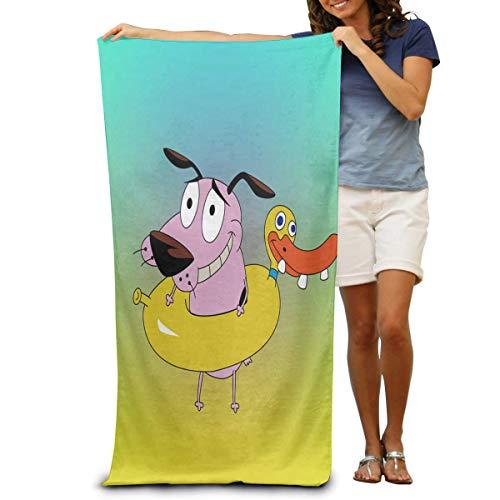 Toalla de baño BUGKHDSAA súper suave con diseño de perro cobarde de dibujos animados de secado rápido, toalla de playa, toalla de viaje, toalla de baño, tamaño grande 31 x 51 pulgadas
