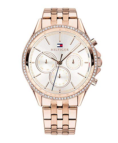 Tommy Hilfiger Damen Multi Zifferblatt Quarz Uhr mit Roségold Armband 1781978