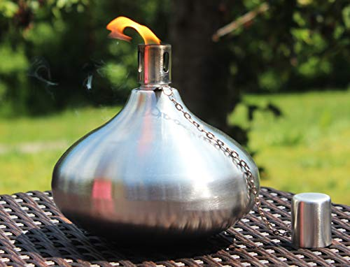 Table Torch for Backyard or Patio, Steel with Fiberglass Wick