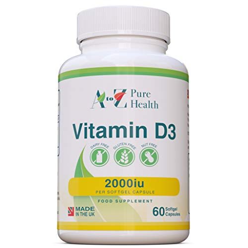 Vitamin D Supplement |High Strength Vitamin D3 2000iu | 60 Easy to Swallow Softgel Capsules |One a Day, 2 Months Supply |Supports Healthy Bones, Teeth, Muscle and Immune System| Made in The UK| AtoZ