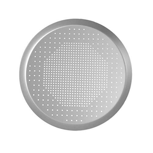 Jiaju Bandeja de fruta, Herramienta for hornear de aluminio Bandeja de Hogares Ronda de perforación palo no Recubrimiento Bandeja + Pizza, plata, grande 16 * 14,8 * 0.6in, Medio 8.4 * 7.2 * 0.6in, Peq
